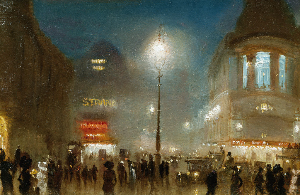 Detail of The Strand, London, at Theater Time by George Hyde-Pownall