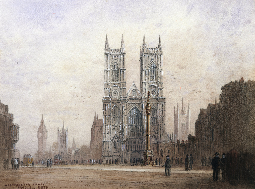 Detail of Westminster Abbey, London by Fred E.J. Goff
