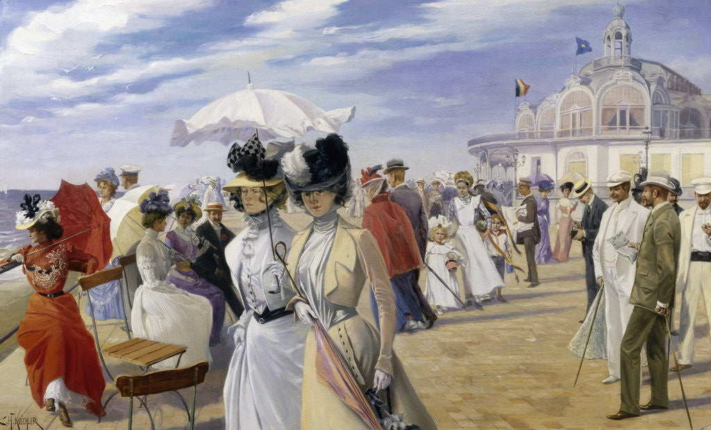A Stroll at the Seaside, Ostend by Carl Hermann Kuechler