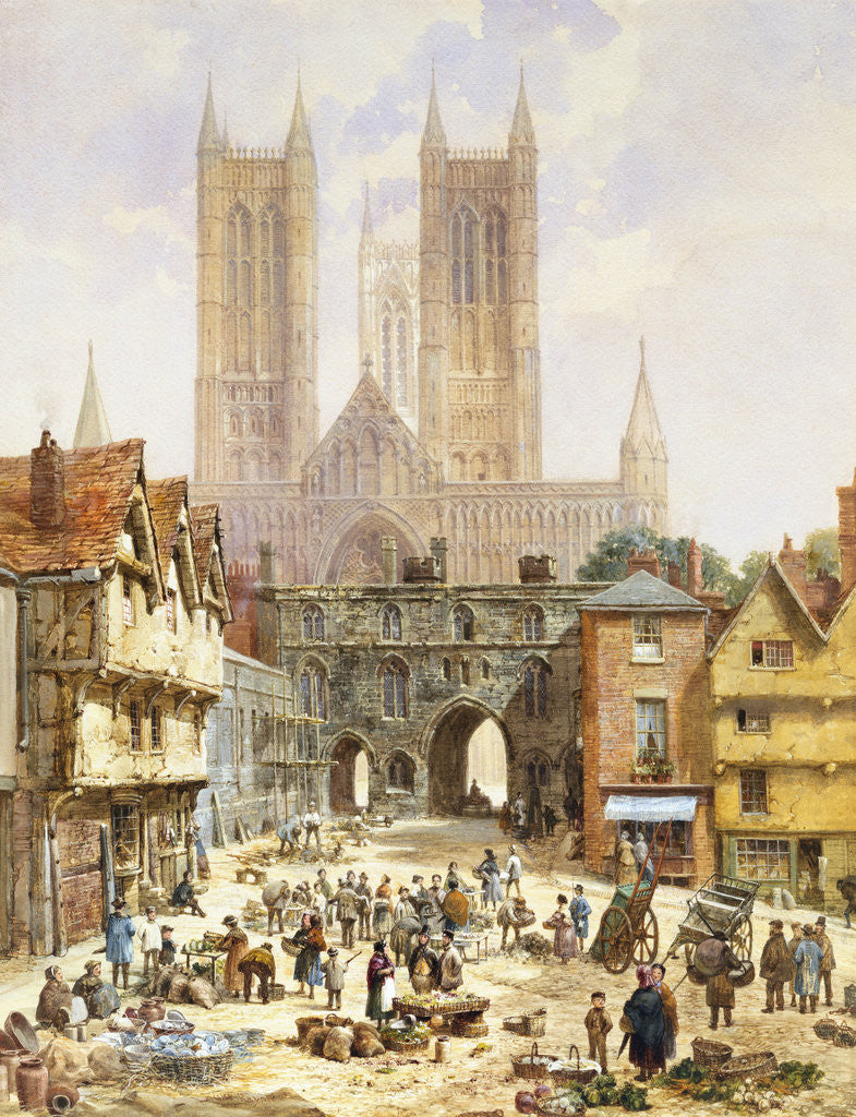 A View of Lincoln Cathedral, England by Louise Rayner