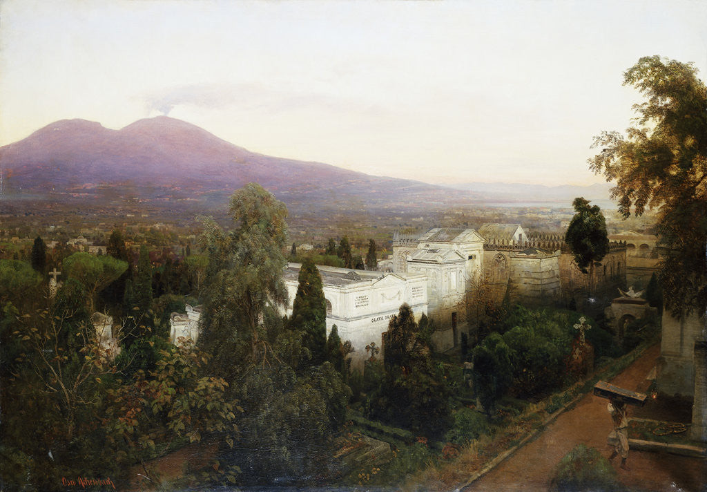 Detail of A Neopolitan Cemetery with Vesuvius Beyond by Oswald Achenbach