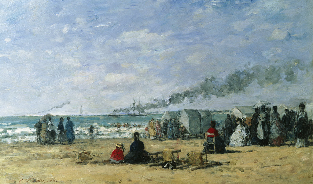 Detail of The Beach at Bathing Time by Eugene Louis Boudin