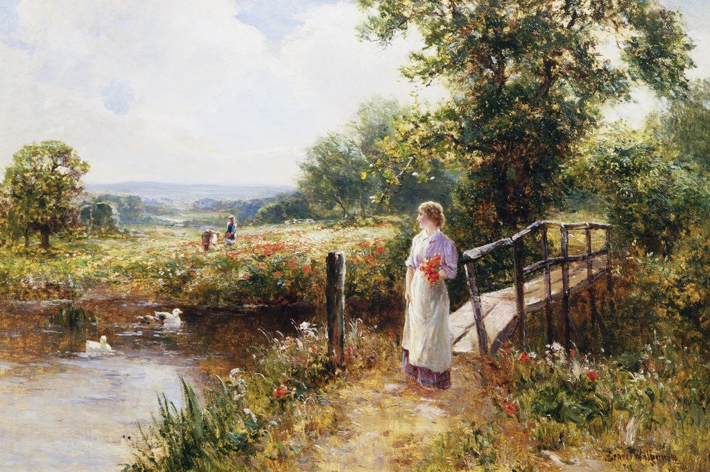 Detail of Gathering Poppies Near Winchester, England by Ernest Walbourn