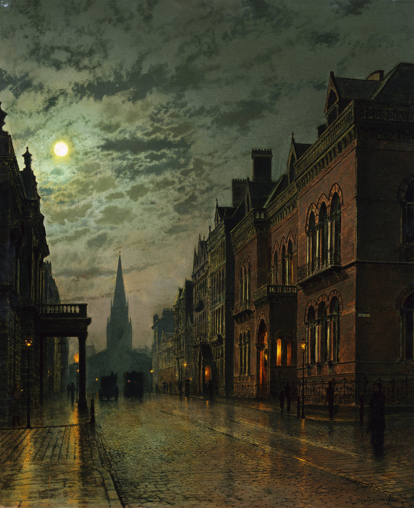 Detail of Park Row, Leeds, England by John Atkinson Grimshaw