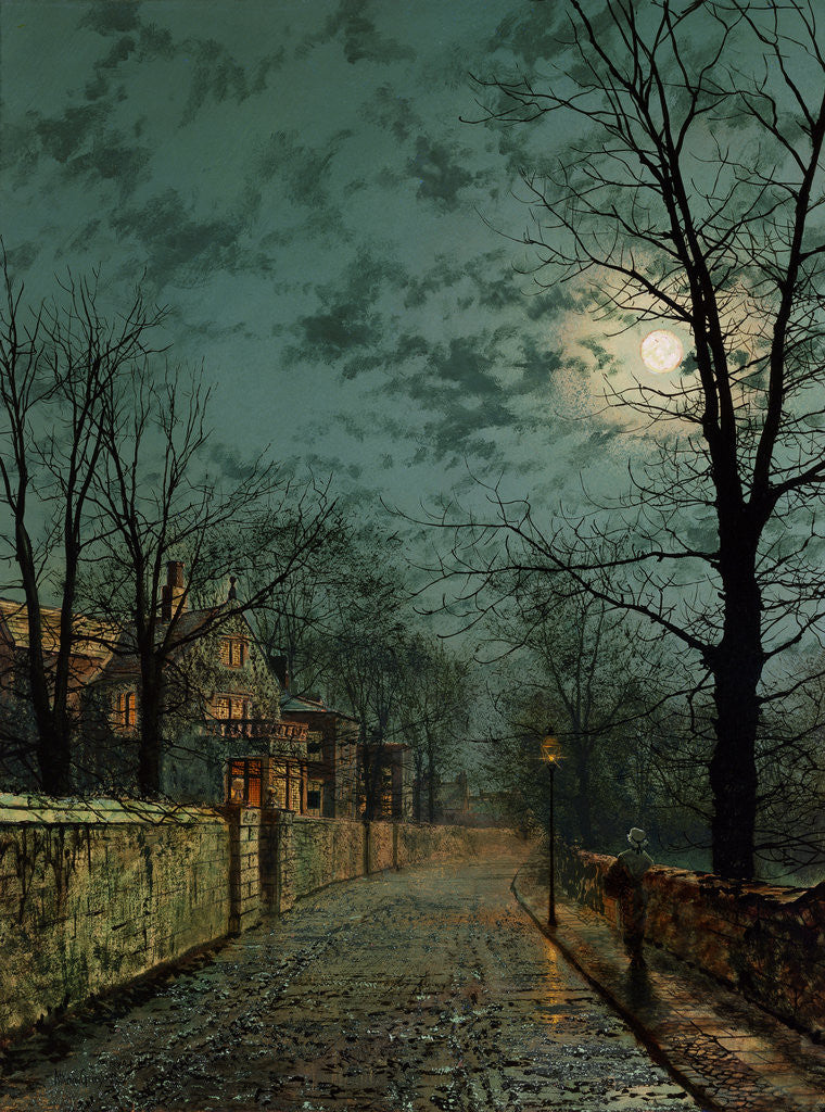 Detail of A Wet Winter's Evening by John Atkinson Grimshaw