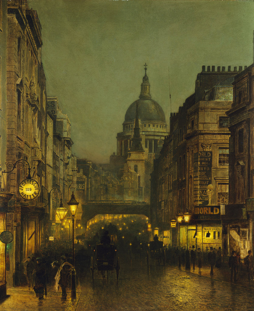 Detail of St. Paul's Cathedral from Ludgate Circus, London, England by John Atkinson Grimshaw
