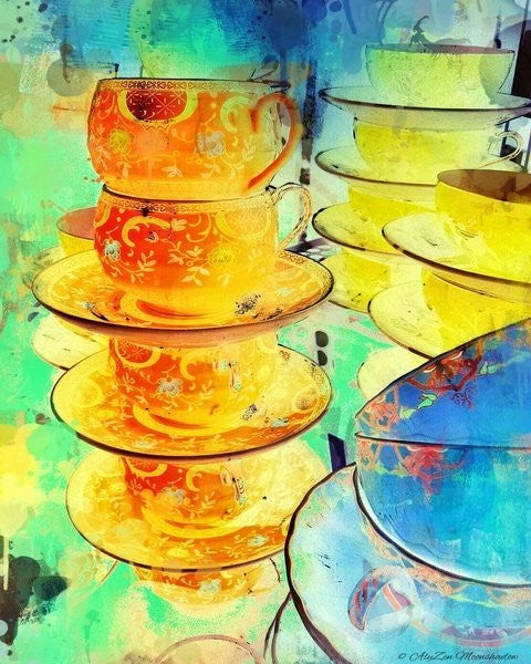 Detail of Orange and Gold Stack by AlyZen Moonshadow