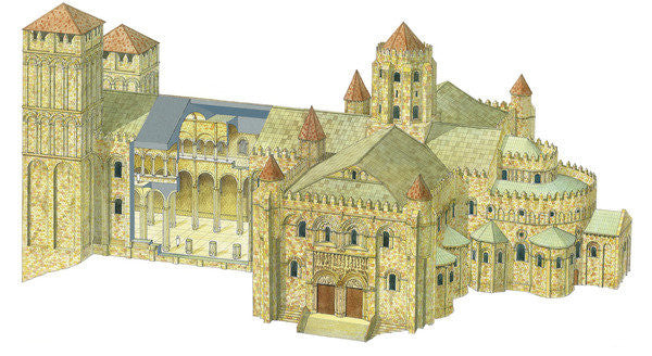 Detail of Santiago de Compostela Romanesque Cathedral. Reconstruction. Spain by Fernando Aznar Cenamor