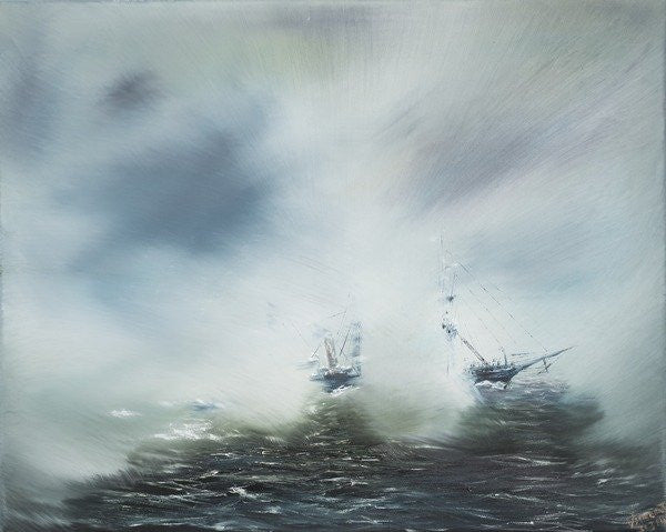 Detail of Dicovery,Clearing in sea mist, Captain Scott en route to Antarctica by Vincent Alexander Booth