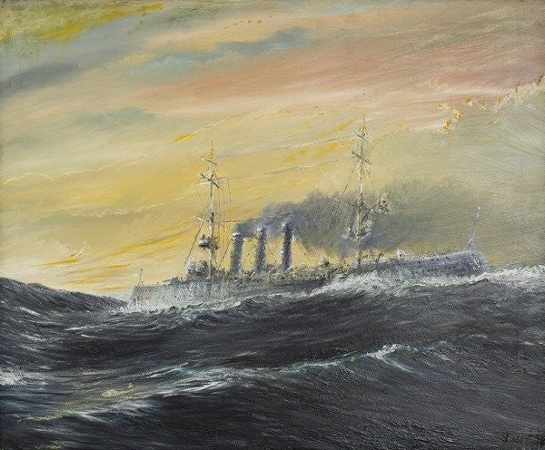 Detail of Emden rides the waves by Vincent Alexander Booth