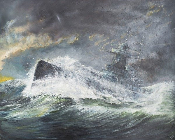 Detail of Graf Spee enters the Indian Ocean by Vincent Alexander Booth