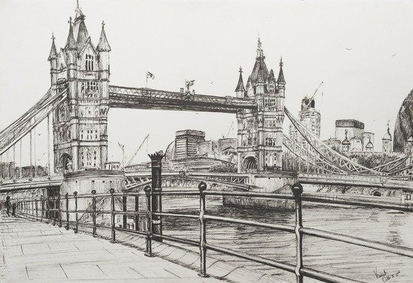Detail of Tower Bridge, London by Vincent Alexander Booth