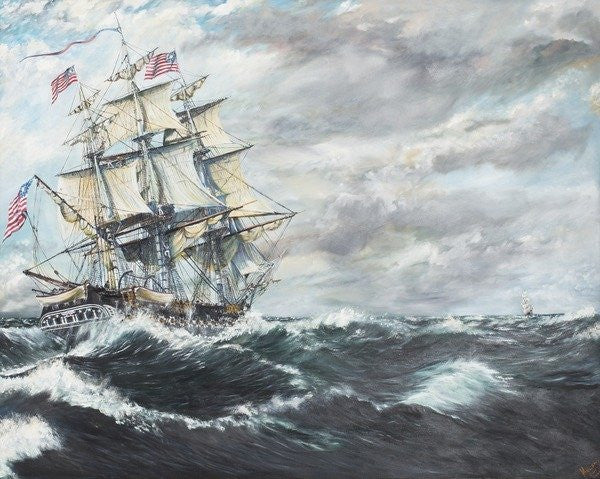 Detail of USS Constitution heads for HM Frigate Guerriere by Vincent Alexander Booth