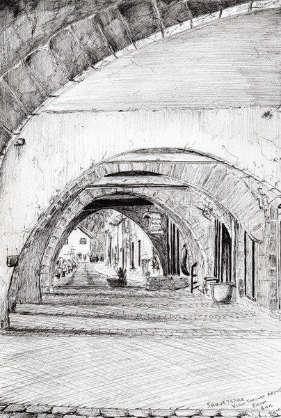 Detail of Arches, Sauveterre,France by Vincent Alexander Booth