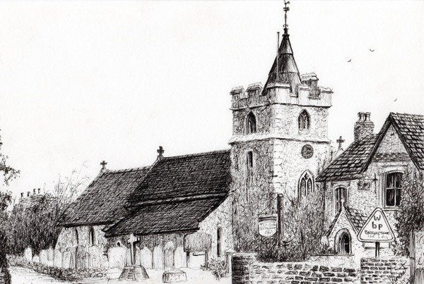 Detail of Brighstone Church I.O.W. by Vincent Alexander Booth