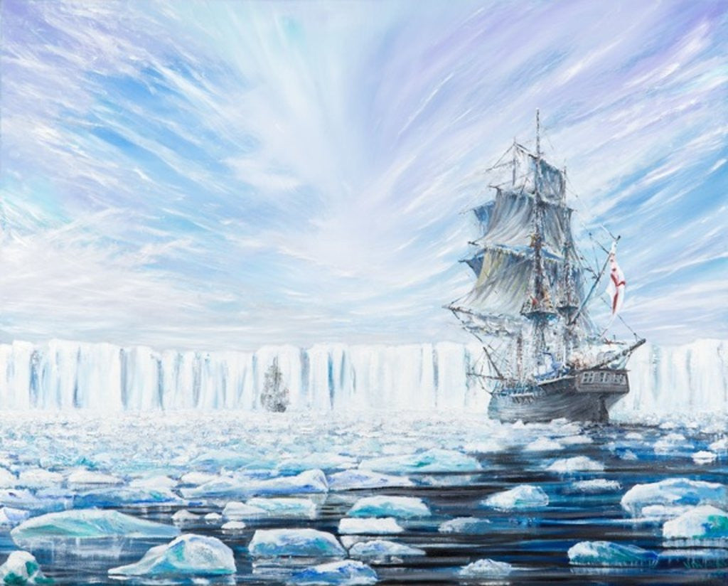 Detail of James Clark Ross discovers Antarctic Ice Shelf Jan 1841 by Vincent Alexander Booth
