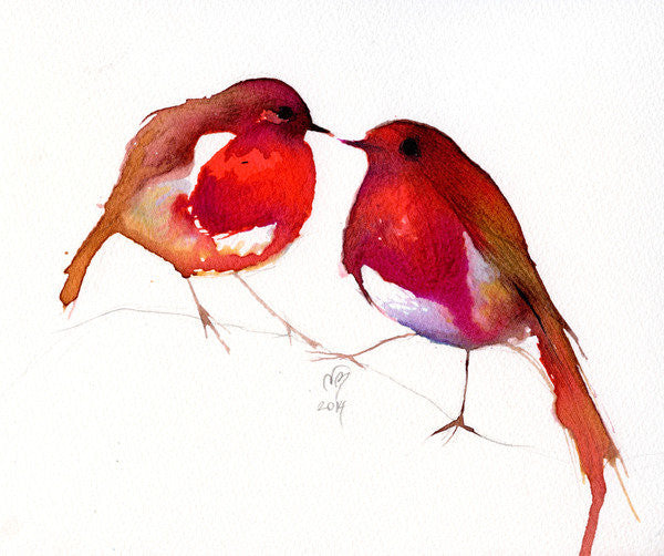 Detail of Two Little Ink Birds by Nancy Moniz Charalambous