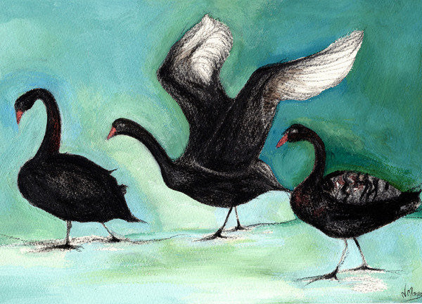 Detail of A ballet of Black Swans by Nancy Moniz Charalambous