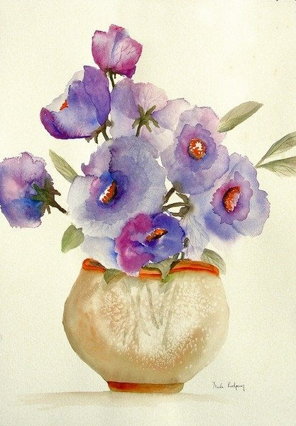 Detail of Purple Anemones in a vase by Neela Pushparaj