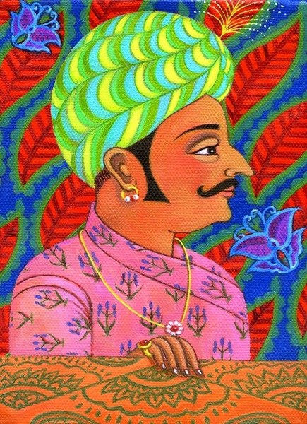Detail of Maharaja with butterflies by Jane Tattersfield