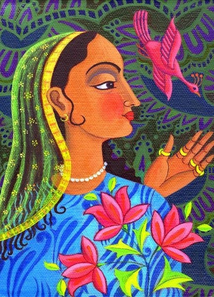 Detail of Maharani with magenta bird by Jane Tattersfield