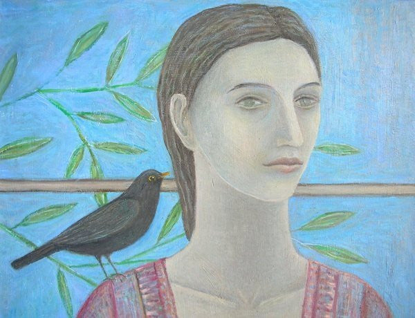 Detail of A Woman and a Blackbird are One (detail) by Ruth Addinall
