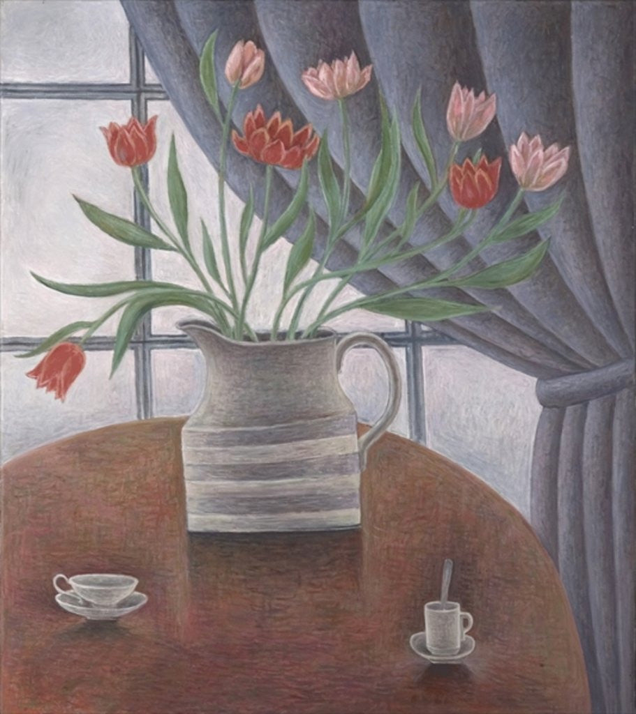 Detail of Tulips, Curtain, Cups by Ruth Addinall