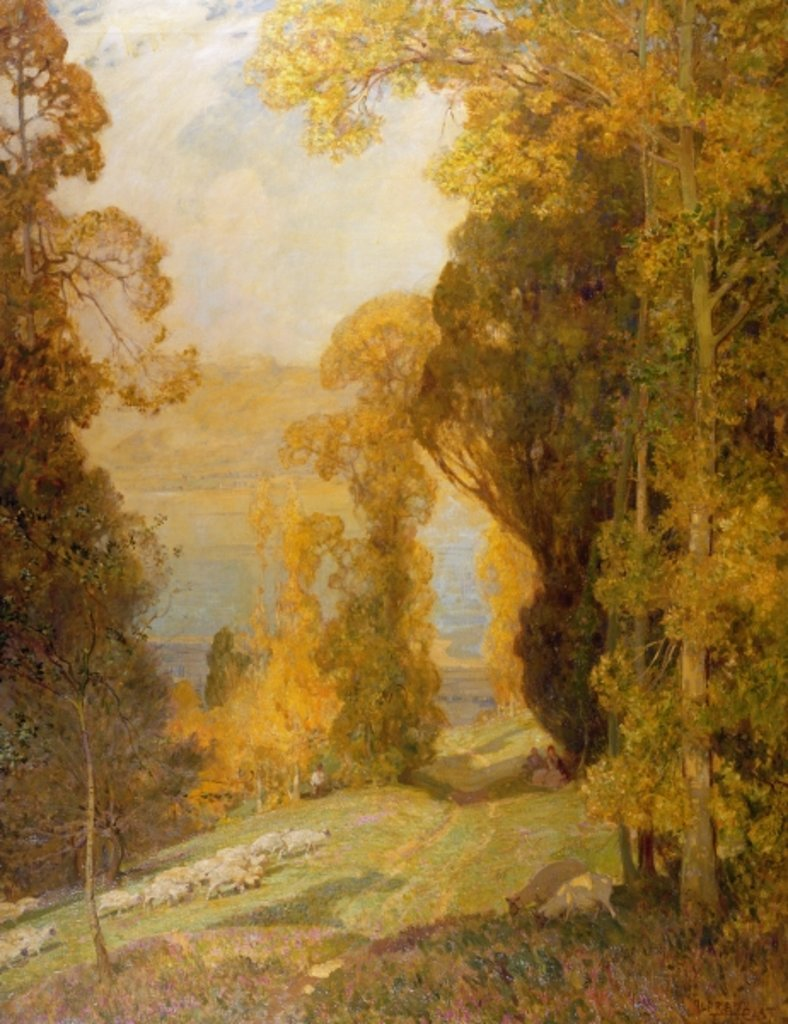 Detail of Lake Bourget from Mont Revard by Alfred East