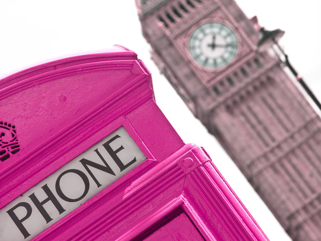 Detail of London Telephone Box and the Big Ben by Assaf Frank