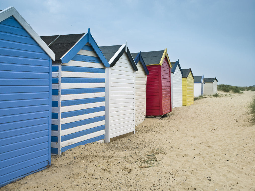 Detail of Beach huts in a row by Assaf Frank