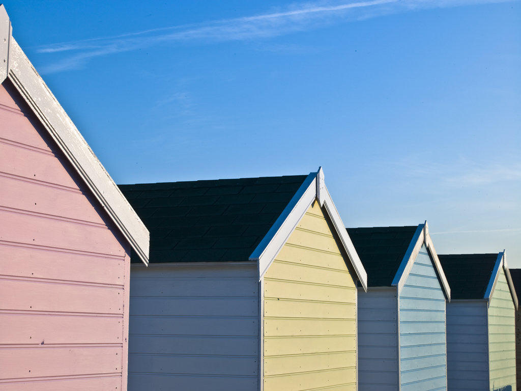 Detail of Beach huts in a row, close-up by Assaf Frank