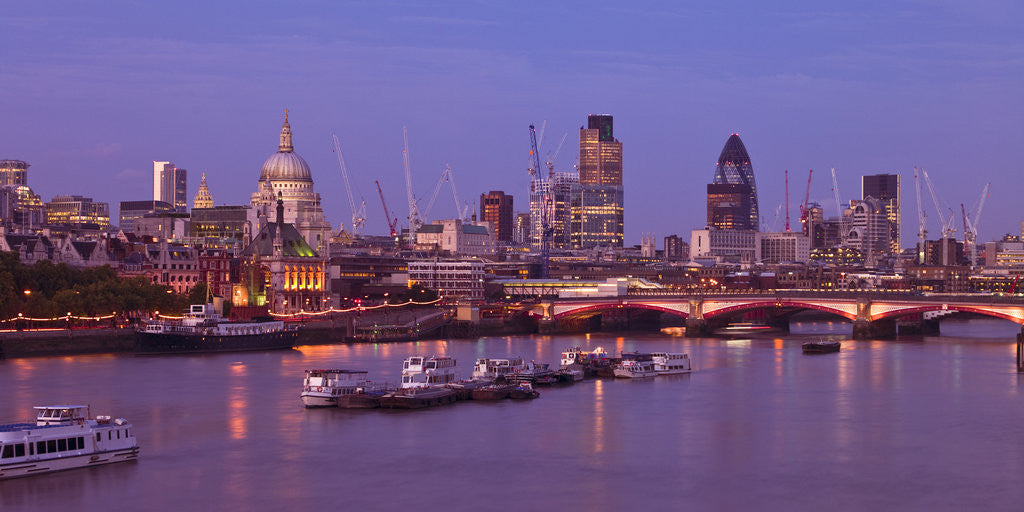 Detail of London skyline, river thames and Blackfriars bridge at dusk by Assaf Frank