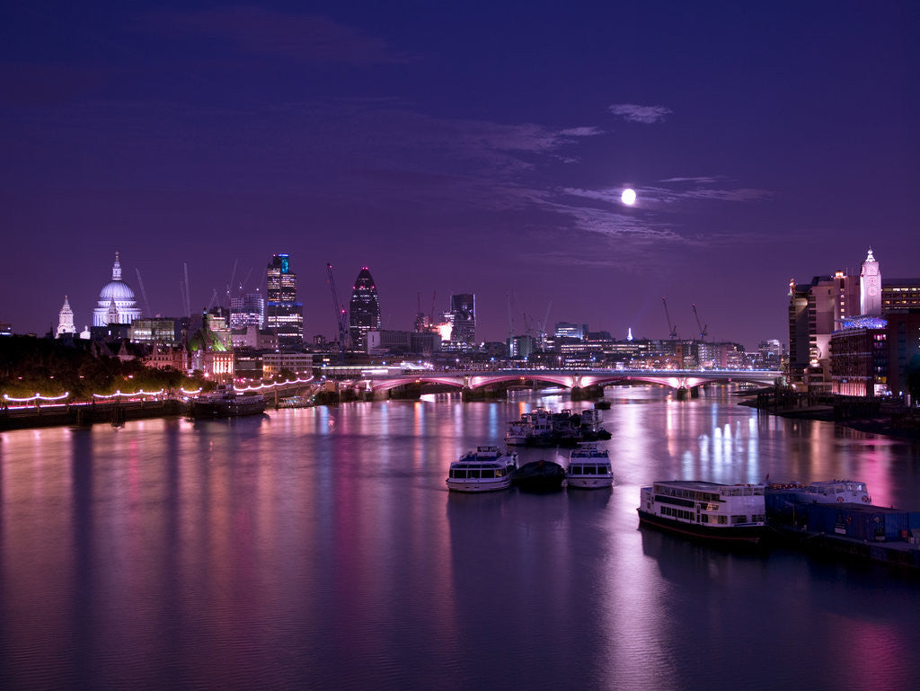 Detail of London skyline, river thames and Blackfriars bridge at night by Assaf Frank