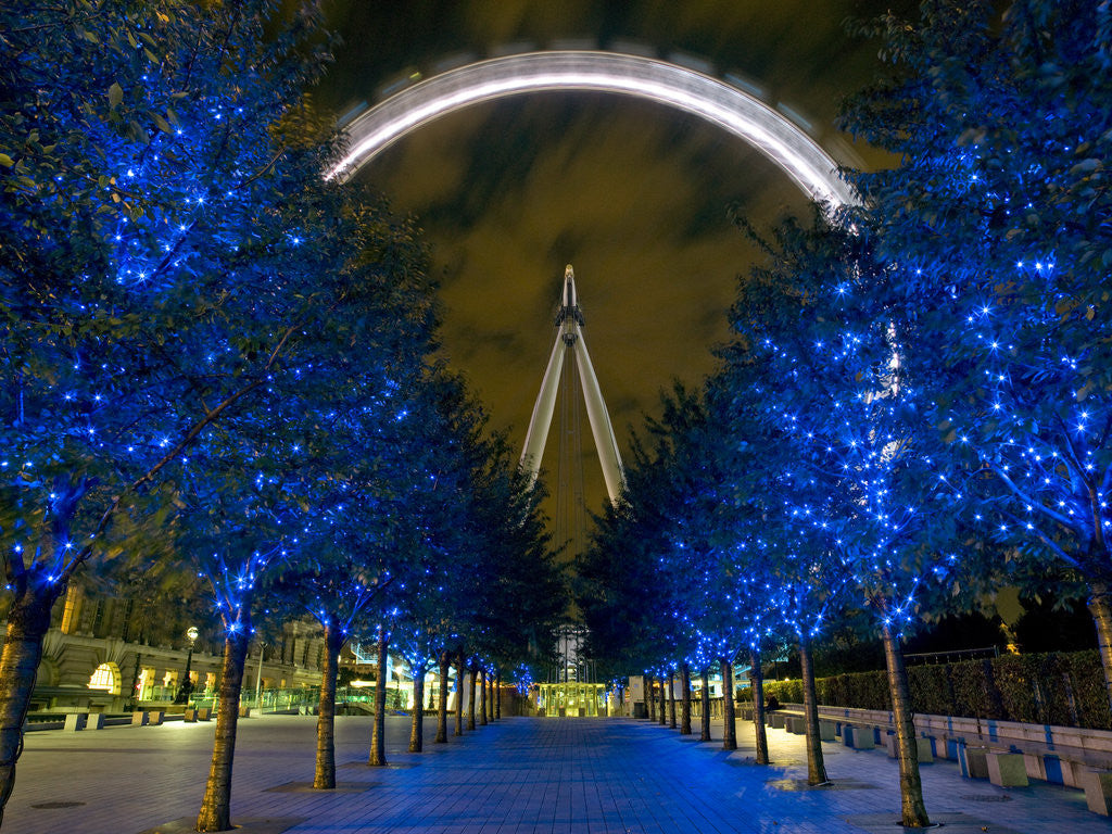 Detail of London Eye at night by Assaf Frank