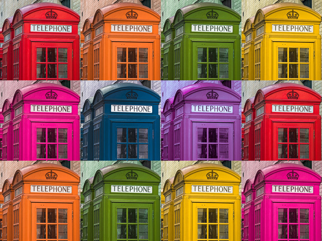 Detail of Muti coloured telephone boxes by Assaf Frank