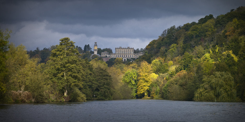 Detail of Cliveden house from the river Thames at Autumn, Berkshire, UK by Assaf Frank