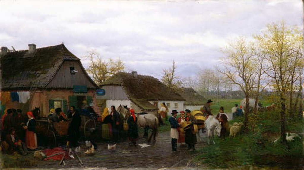 Detail of In a Small Town, c.1880 by Ludwik Kurella