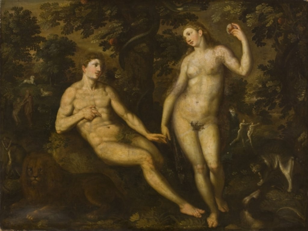 Detail of Adam and Eve in the Garden of Eden, c.1590-1610 by School Dutch
