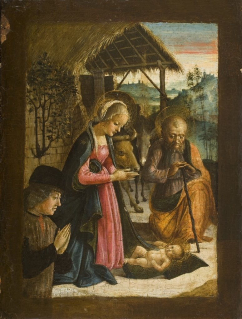 Detail of Adoration of the Child with portrait of donor, c.1500 by School Italian