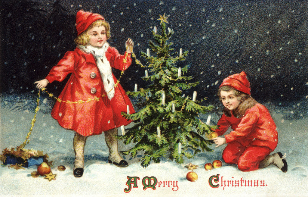 Detail of A Merry Christmas Postcard with Two Children Decorating Tree by Corbis