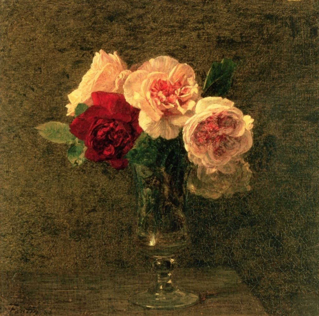 Detail of Still Life of Pink and Red Roses, 19th century by Ignace Henri Jean Fantin-Latour