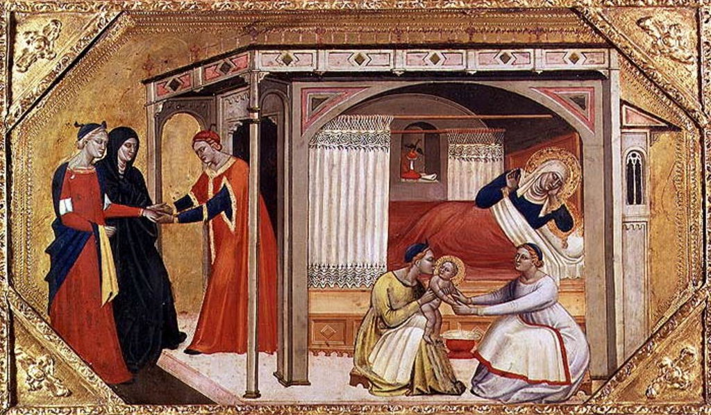 Detail of The Birth of the Virgin, 14th century by Italian School