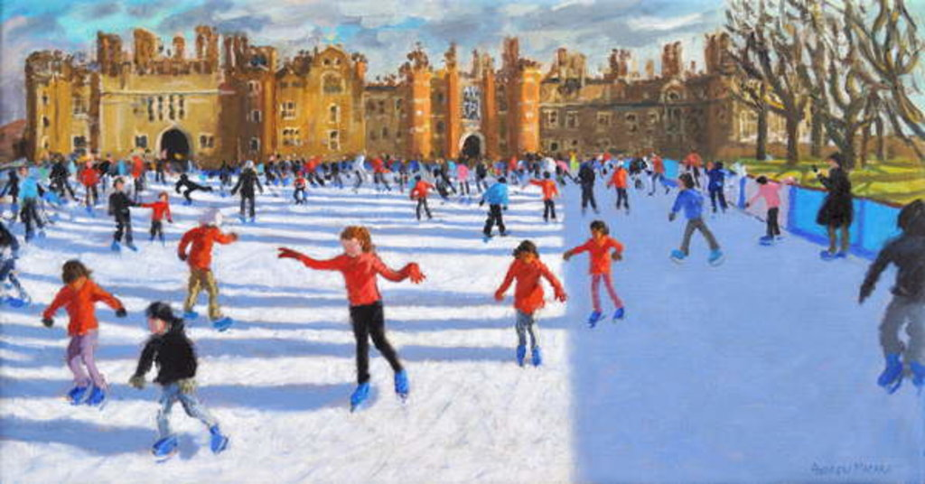 Detail of Girls in Red, Hampton Court Palace Ice Rink, London, 2018 by Andrew Macara