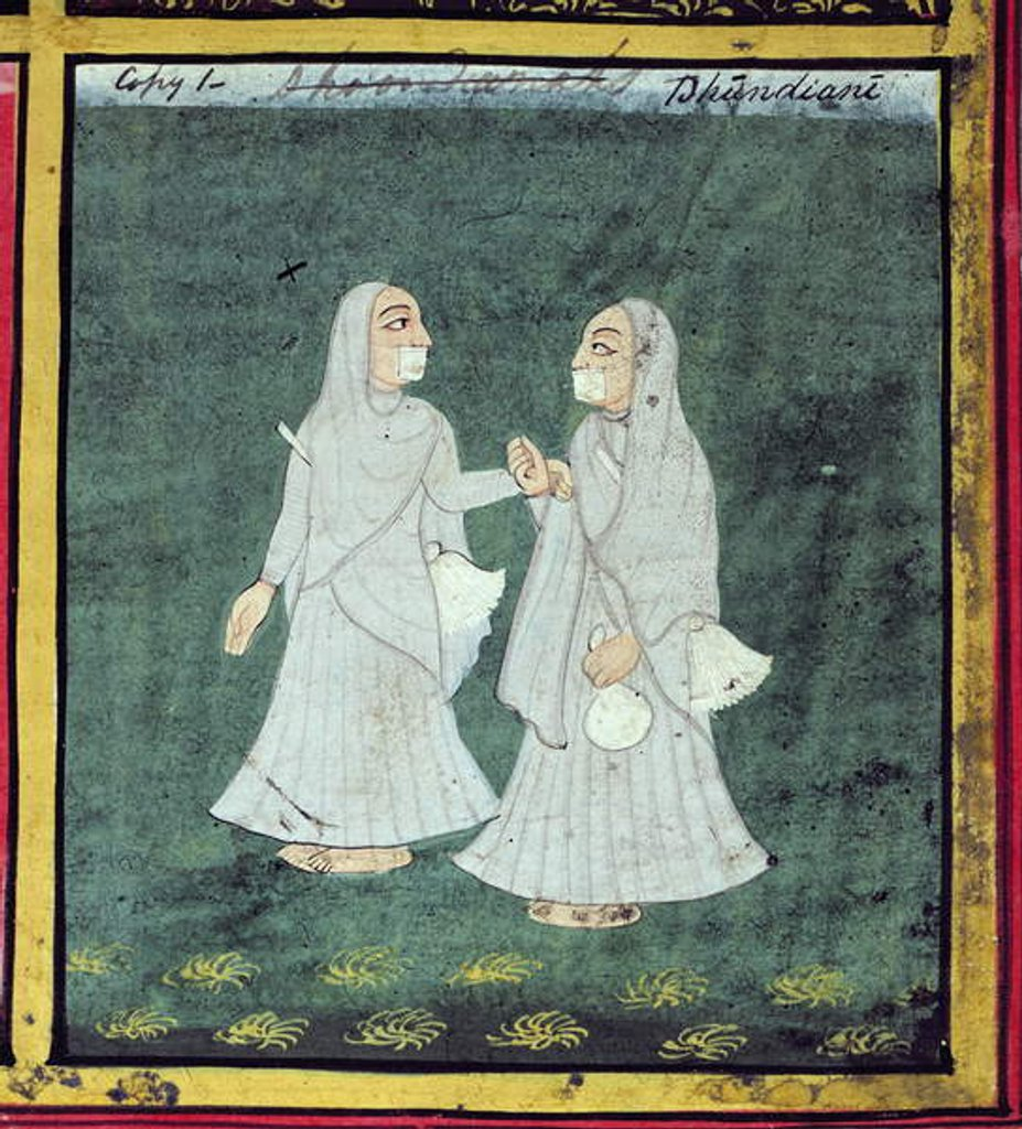 Detail of Two Dhondiya Women, Religious Mendicants, Udaipur, c.1810-20 by Indian School