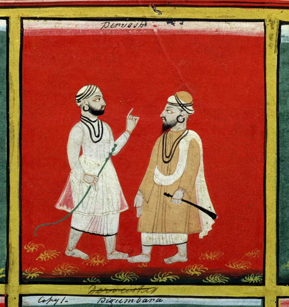 Detail of Two Dervishes, Religious Mendicants, Udaipur, c.1810-20 by Indian School