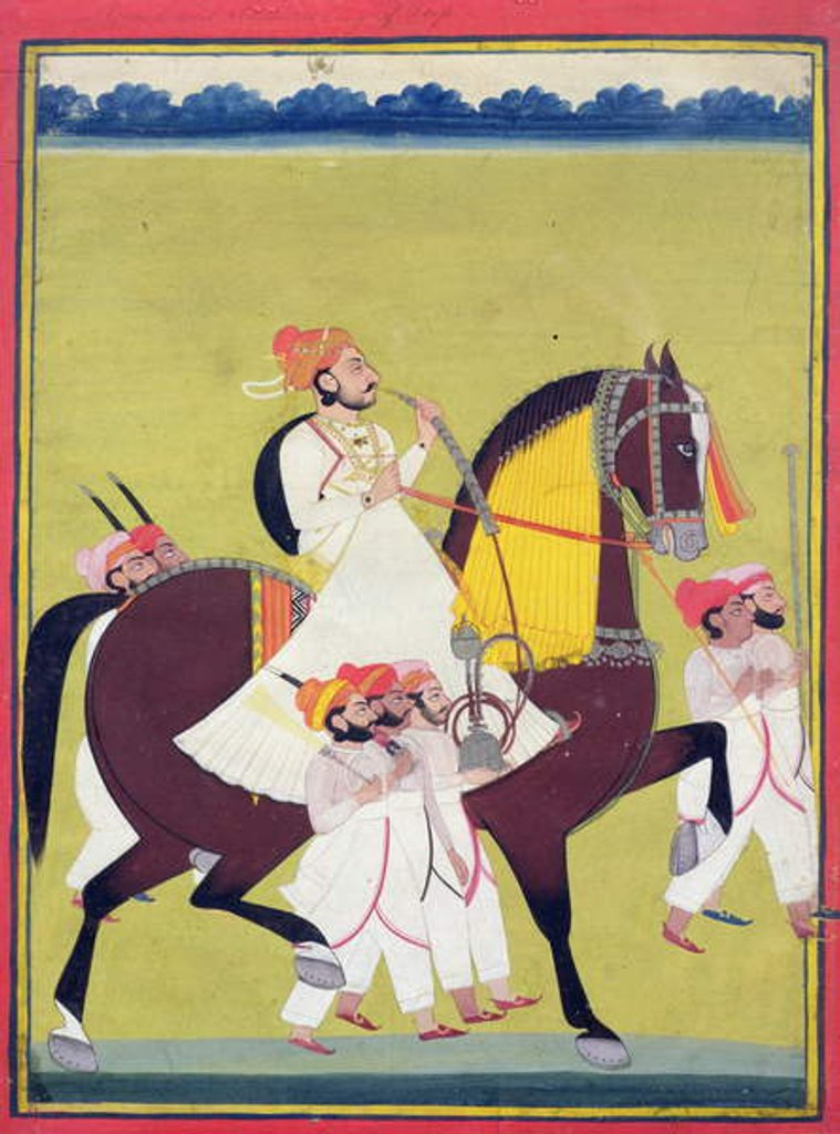 Detail of Portrait of Kumbhawat Kesari Singh of Asop, riding a horse, smoking a hookah and accompanied by attendants, Jodhpur, c.1810-20 by Indian School
