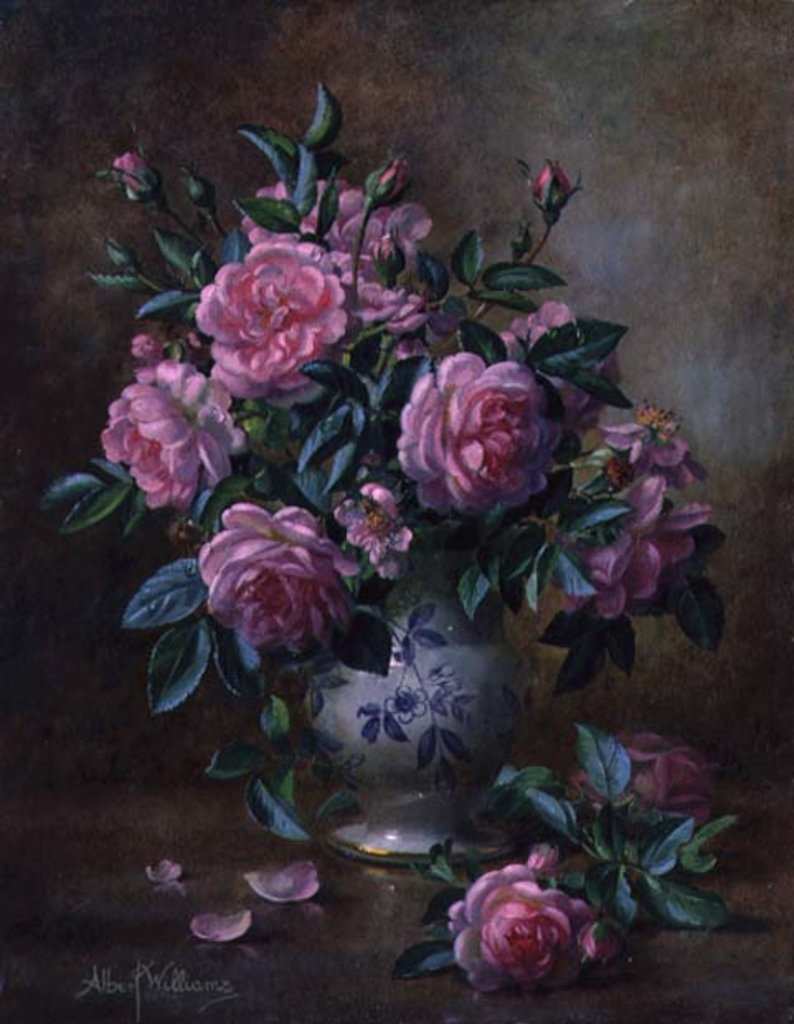 Detail of A Medley of Pink Roses by Albert Williams