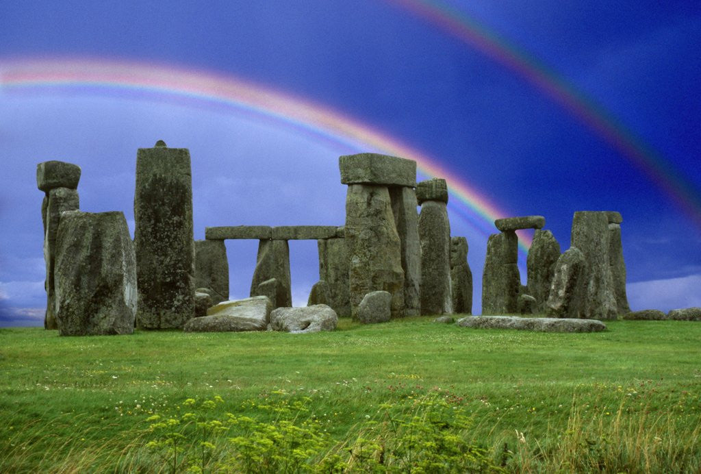 Detail of Double Rainbow over Stonehenge by Corbis