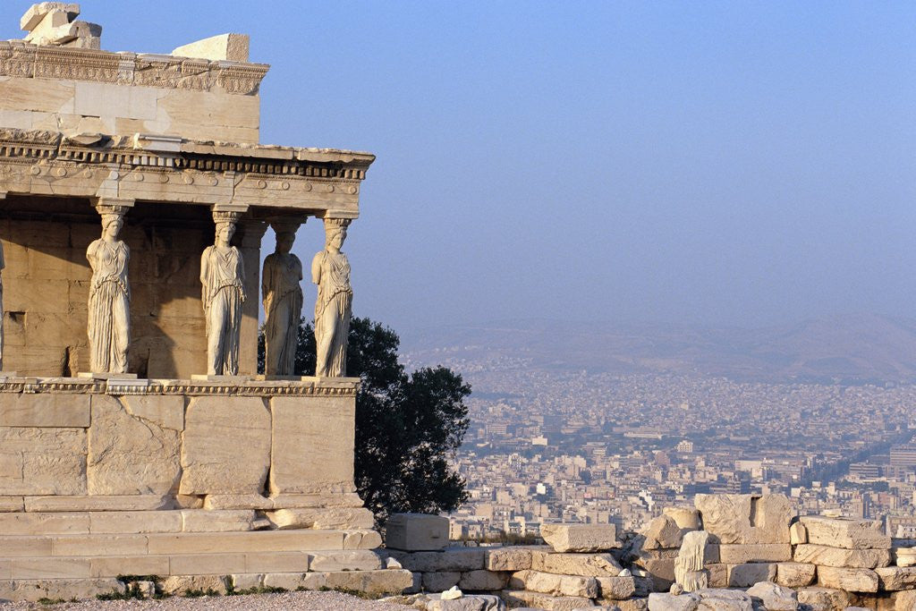 Detail of Carytids of Acropolis Overlooking Athens by Corbis