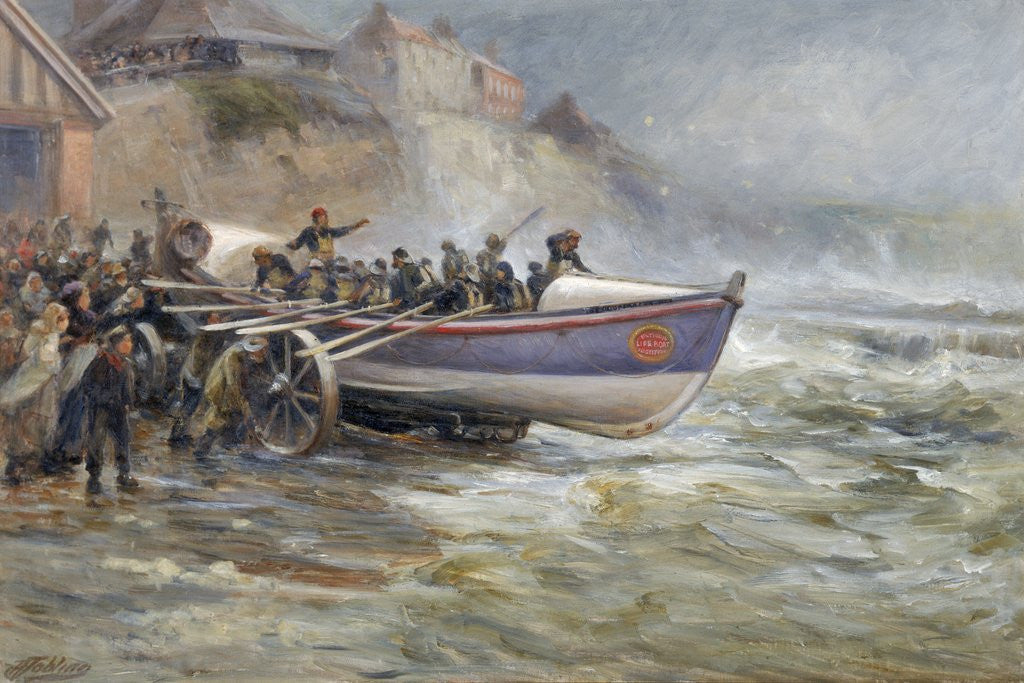 Detail of Launching the Cullercoats Lifeboat by Robert Jobling